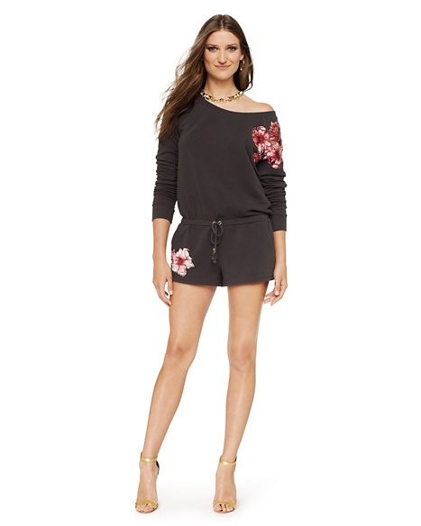 JUICY COUTURE Hat WOMEN ROMPER IN FLORAL FLEECE Top
