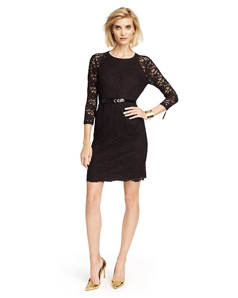 JUICY COUTURE DRESS WOMEN SCALLOPED LACE Pitch Black
