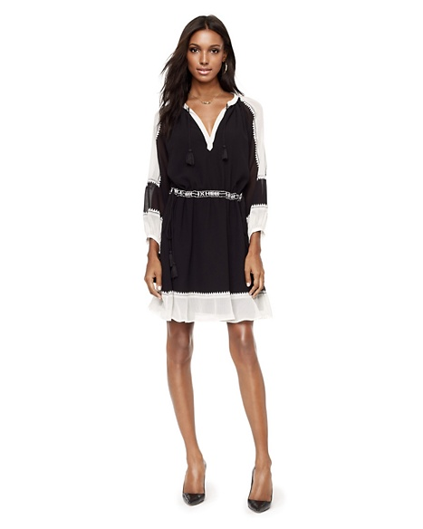 JUICY COUTURE DRESS WOMEN COLORBLOCKED BOHO Pitch Black