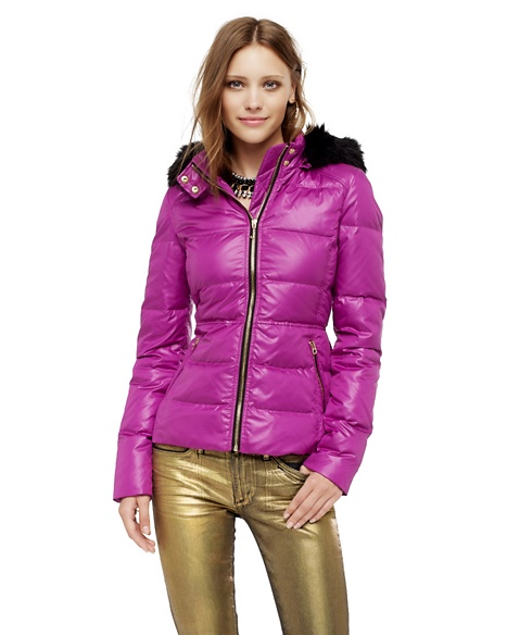 JUICY COUTURE JACKET WOMEN HOODED PUFFER Crushed Berry