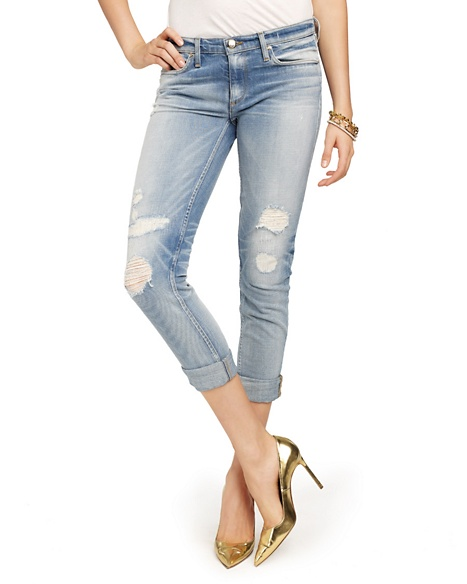 JUICY COUTURE JEAN WOMEN DISTRESSED STRAIGHT ROLLED Smith Wash