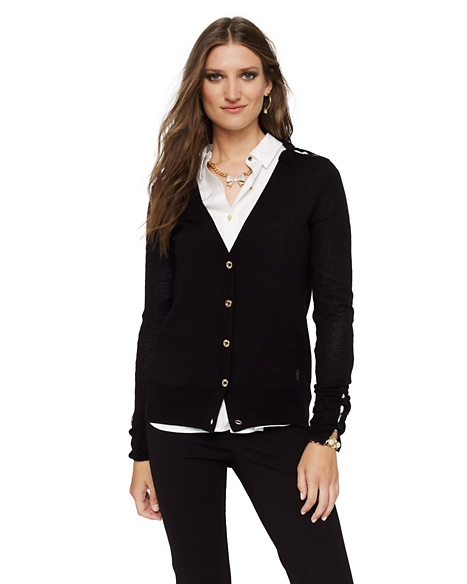JUICY COUTURE CARDIGAN WOMEN MERINO BOW Pitch Black