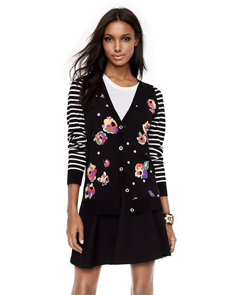 JUICY COUTURE CARDIGAN WOMEN FLORAL-STRIPED Pitch Black