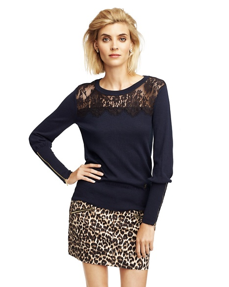 JUICY COUTURE SWEATER WOMEN LACE PULLOVER Regal