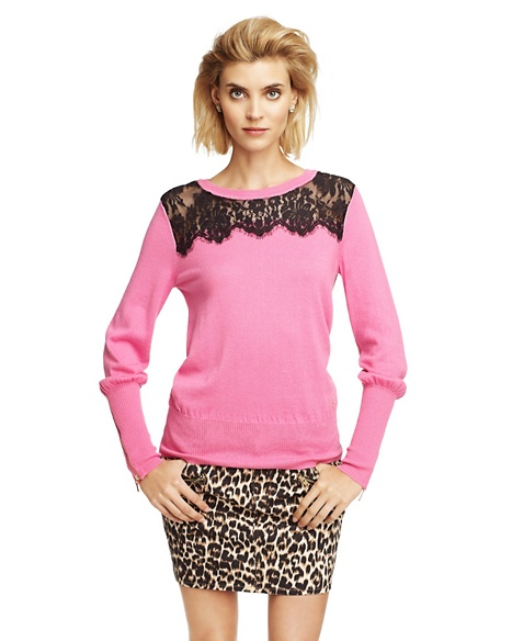 JUICY COUTURE SWEATER WOMEN LACE PULLOVER Fragrant Rose