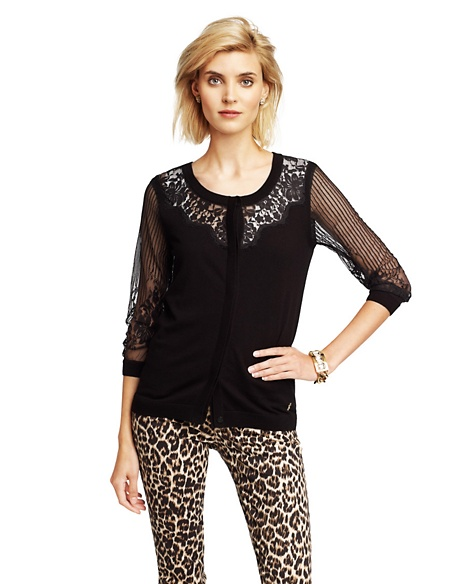 JUICY COUTURE CARDIGAN WOMEN LACE-FRONT Pitch Black