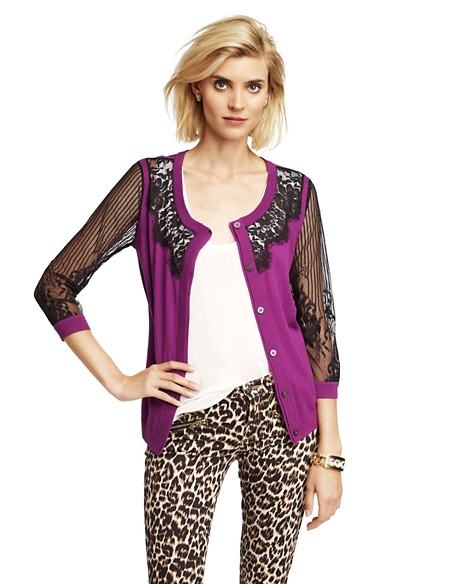 JUICY COUTURE CARDIGAN WOMEN LACE-FRONT Crushed Berry Dark