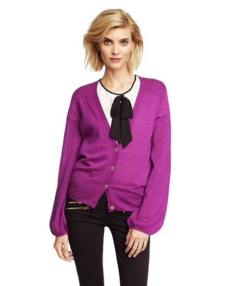 JUICY COUTURE CARDIGAN WOMEN POET SLEEVE Crushed Berry
