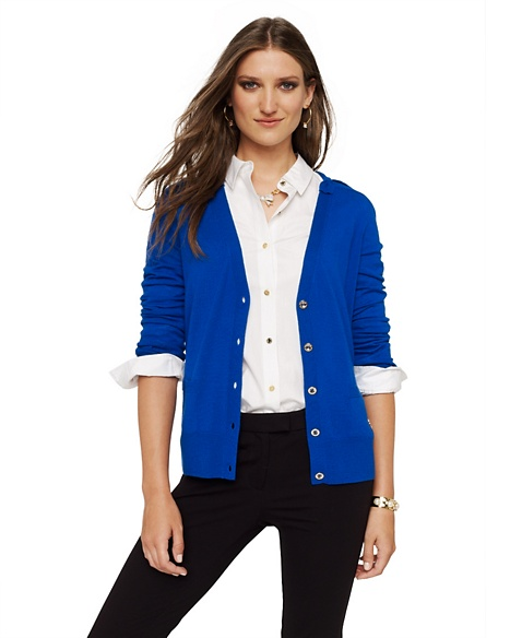 JUICY COUTURE CARDIGAN WOMEN MERINO BOW Glow Blue