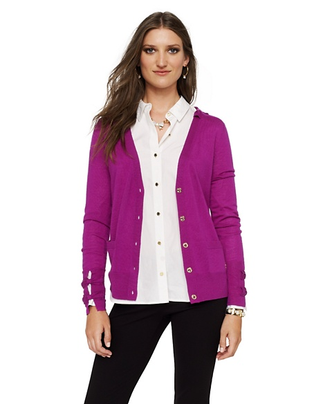 JUICY COUTURE CARDIGAN WOMEN MERINO BOW Crushed Berry