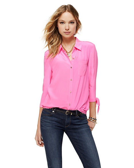 JUICY COUTURE BLOUSE WOMEN SILK BOW SLEEVE Hot