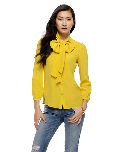 JUICY COUTURE BLOUSE WOMEN SILK TIE NECK Mustard