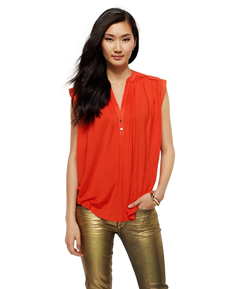 JUICY COUTURE BLOUSE WOMEN SILK JERSEY SLEEVELESS Seychelles