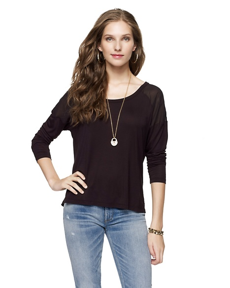 JUICY COUTURE WOMEN SQUARE TEE W/YOKE Pitch Black