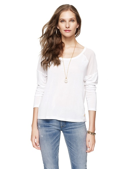 JUICY COUTURE WOMEN SQUARE TEE W/YOKE White