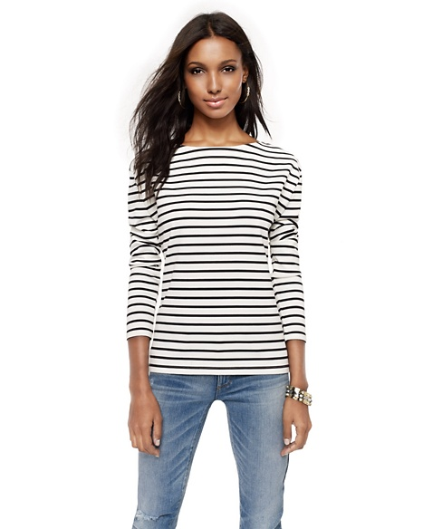 JUICY COUTURE WOMEN STRIPED BOATNECK TOP Angel