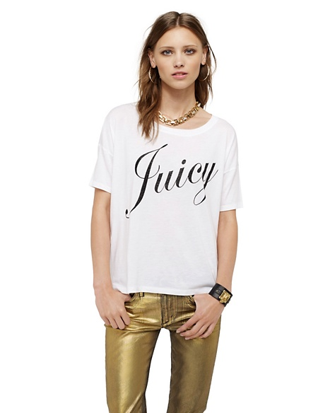 JUICY COUTURE WOMEN BOXY LOGO TEE White