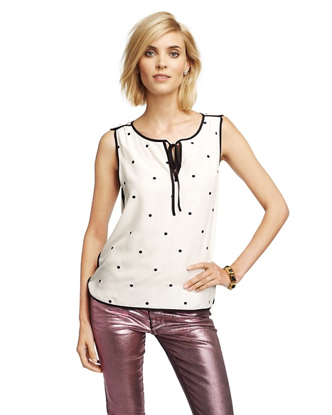 JUICY COUTURE WOMEN SILK DOT TOP Angel