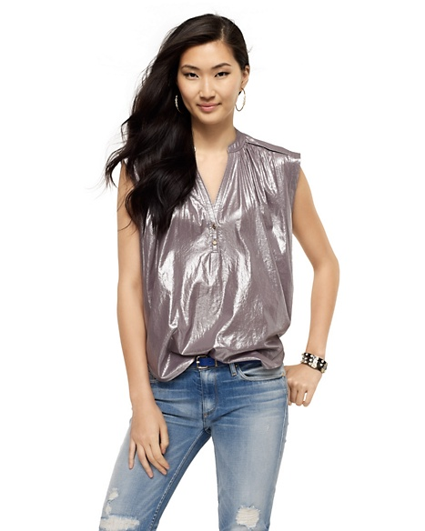 JUICY COUTURE WOMEN METALLIC FOIL TOP Crystal Grey