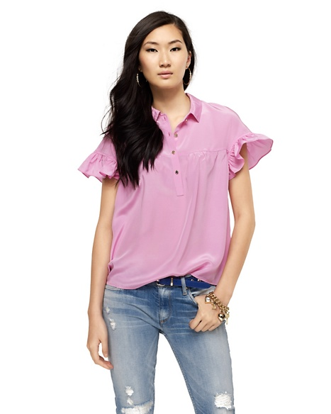 JUICY COUTURE BLOUSE WOMEN SILK PINTUCK Hint Of Sugar