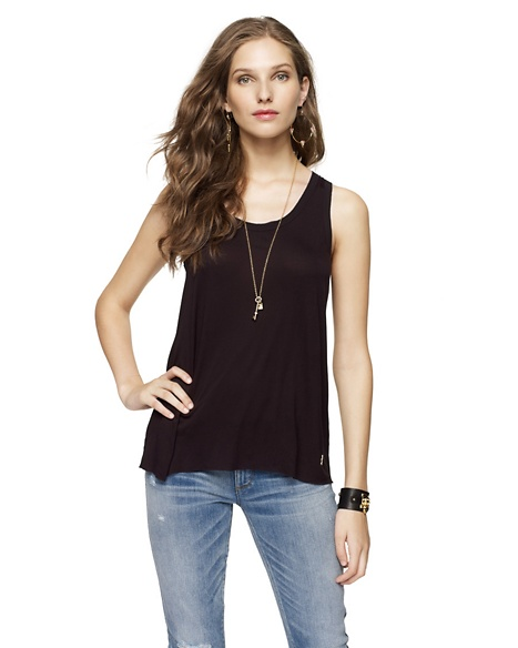 JUICY COUTURE WOMEN CHIFFON TRIMMED TANK Black