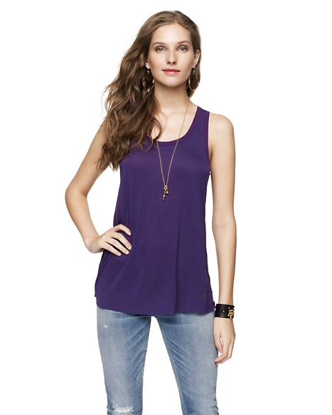 JUICY COUTURE WOMEN CHIFFON TRIMMED TANK Jeweled Plum