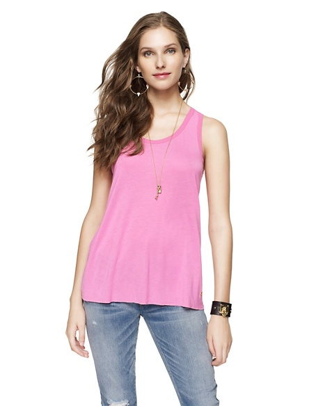 JUICY COUTURE WOMEN CHIFFON TRIMMED TANK Opal Pink
