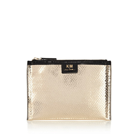 KAREN MILLEN SNAKE PRINT ZIP TOP PURSE