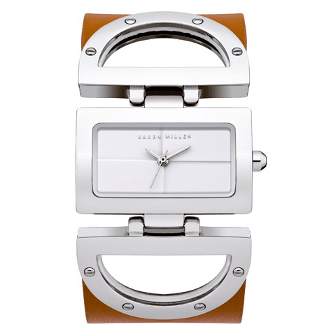 KAREN MILLEN SQUARE DIAL WATCH WITH LEATHER STRAP