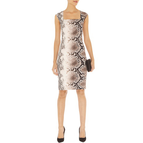 KAREN MILLEN FITTED SNAKE PRINT DRESS