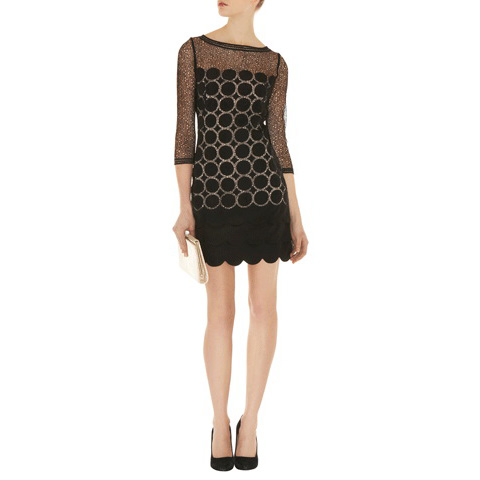 KAREN MILLEN SHEER AND OPAQUE DRESS