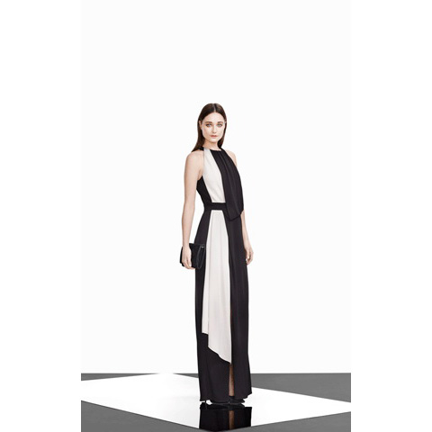 KAREN MILLEN FLOORLENGTH DRAPED JERSEY DRESS