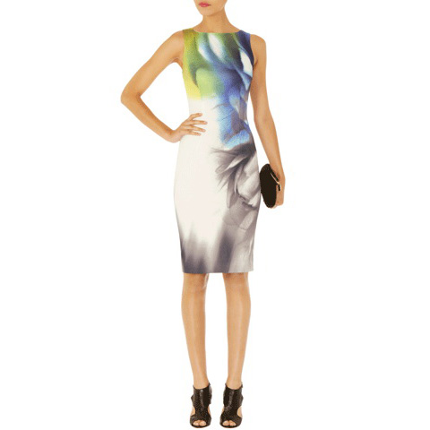 KAREN MILLEN SMOKEY PLACED PRINT DRESS