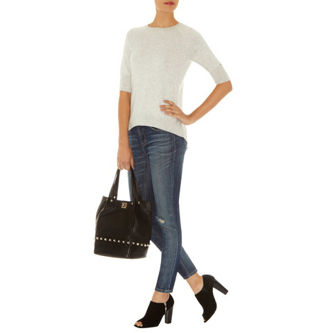 KAREN MILLEN SHEER AND OPAQUE KNIT JUM