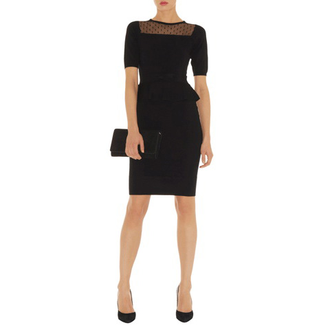 KAREN MILLEN KNIT PEPLUM DRESS