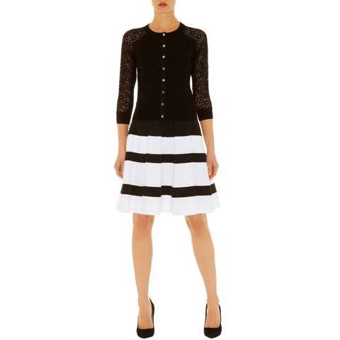 KAREN MILLEN KNIT LACE STRIPE CARDIGAN