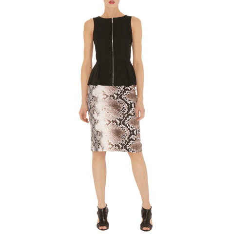 KAREN MILLEN SNAKE PRINT PENCIL SKIRT