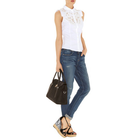 KAREN MILLEN WHITE CUTWORK BLOUSE