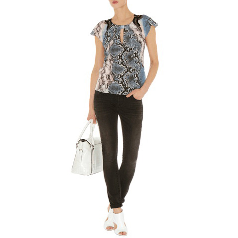 KAREN MILLEN BEADED PYTHON PRINT TOP