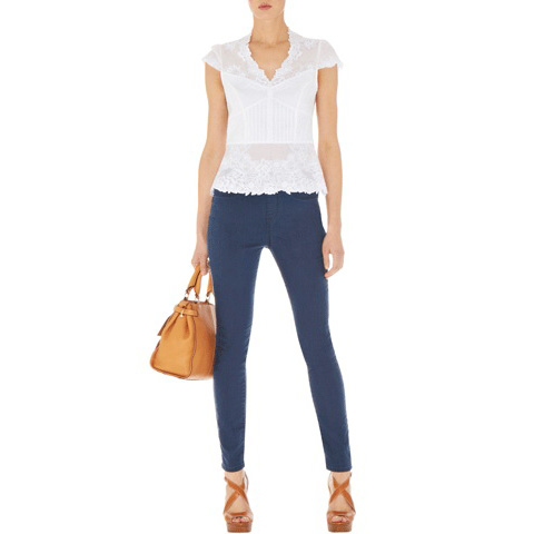 KAREN MILLEN COTTON CUTWORK TOP