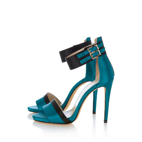 KAREN MILLEN COLOURBLOCK ANKLE STRAP SANDALS