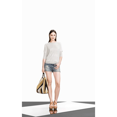 KAREN MILLEN RIPPED AND FRAYED DENIM SHORT