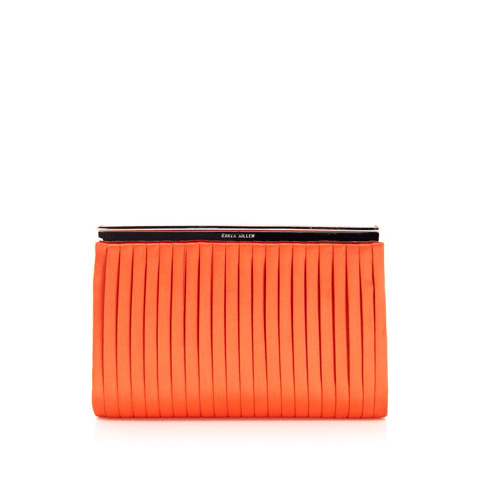 KAREN MILLEN PLEATED SATIN CLUTCH