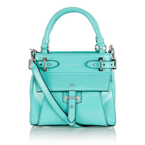 KAREN MILLEN PATENT LEATHER MINI TOTE