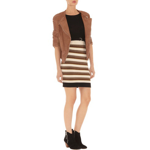 KAREN MILLEN TEXTURED STRIPE KNIT DRESS