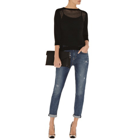 KAREN MILLEN DOT MESH KNIT TOP