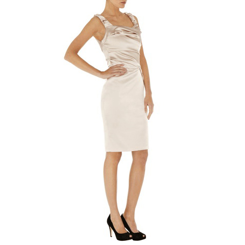 KAREN MILLEN SIGNATURE STRETCH SATIN DRESS
