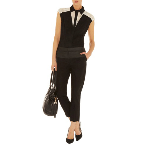 KAREN MILLEN COLOURBLOCK SLEEVELESS SHIRT