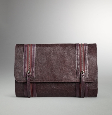 Kenneth Cole Collection Double-Zip Envelope Clutch BURGUNDY