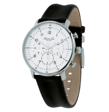 Kenneth Cole New York Chronograph Watch With Black Leather Strap